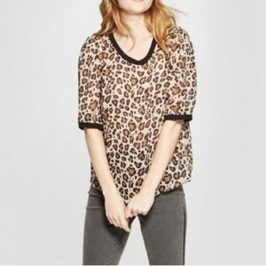 A New Day Leopard Sheer Top Blouse Career Casual
